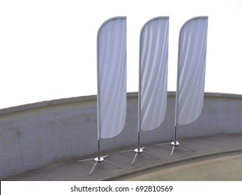 Blank white convex feather flag outdoor advertising shield flag banner or vertical wind banner mock up template isolated on side walk.