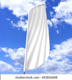 Blank white convex feather flag outdoor advertising shield flag banner or vertical wind banner mock up template isolated on blue sky background.