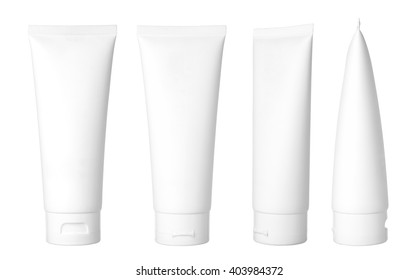 Blank white cosmetic tube isolated on white background