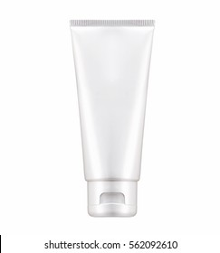 Blank White cosmetic tube pack Of Cream, Gel, Medicine, Cosmetic. Ready for your package design. isolated on white background - realistic photo image - with clip path