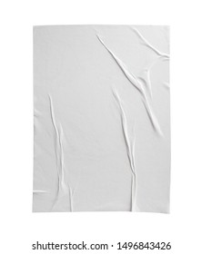 Blank white crumpled and creased paper poster texture isolated on white background
