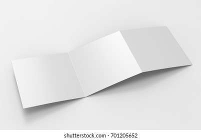 Blank white empty square tri fold catalogs brochure flyer, with clipping path, changeable background for mock up and template design. 3d render illustration.