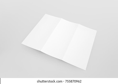 Blank white empty trifold brochure flyer mockup template with soft shadow on gray background.