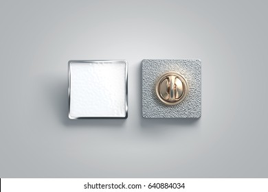 Blank white enamel pin mock up, front and back side view, 3d rendering. Empty luxury hard lapel badge mockup. Silver clasp-pin design template. Matal square brooch for logo presentation.
