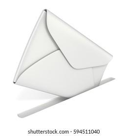 Blank white envelope falls into the slot. Sending mail concept 3D render illustration isolated on white background