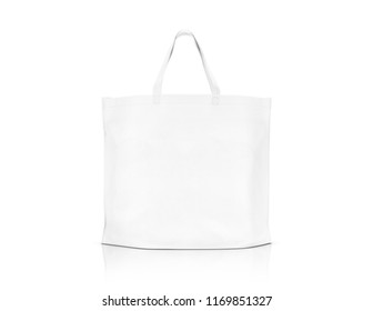 blank white fabric canvas shopping bag for save global warming isolated on white background with clipping path ready for design template