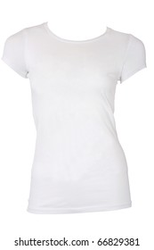 Blank White female t-shirt isolated on white