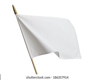 Blank White Flag Blowing in Wind Isolated on White Background.