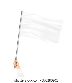 Blank white flag mock up isolated holding in hand. Large wavy flagpole mockup ready for logo design presentation. Surrender symbol empty banner. Pole flag hold in hand. Surrending clear signpost.