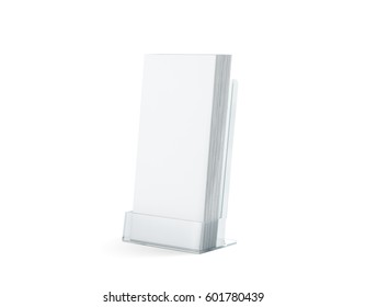 Blank white flyers stack mock up in glass plastic holder, 3d rendering. Dl fliers mockups stand in the acrylic box. Brochure template holding in transparent plexiglass pocket. Booklets in plastic tray