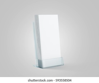 Blank white flyers stack mockup in glass plastic holder, 3d rendering. Dl fliers mock ups stand in the acrylic box. Brochure template holding in transparent plexiglass pocket. Booklets in plastic tray