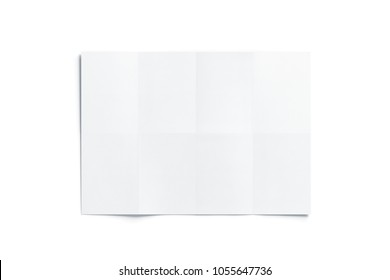 Blank white folded map mockup, isolated, top view, 3d rendering. Chart template mock up display. Clear draft plan paper sheet front.