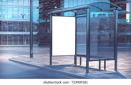 Blank white frame on a bus stop 3d rendering