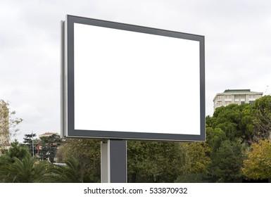 Blank white gaintboard mockup in empty Caddebostan street