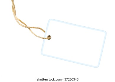 Blank white gift label with cotton string isolated on white background with clipping path