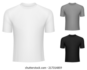 Blank white, grey and black tee shirts.