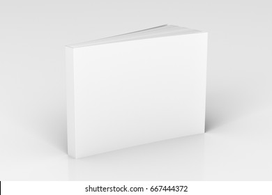 Blank white horizontal soft cover book standing on white background. Isolated with clipping path around book. 3d illustration