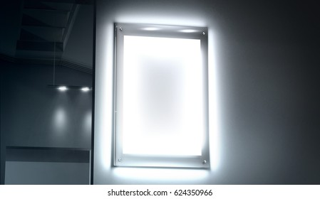 Blank white illuminated poster mock up in dark cinema room, 3d rendering. Clear glowing affiche design mock up mounted on gallery wall. Led acrylic billboard with empty placard in light box