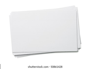Blank white index card isolated on white.