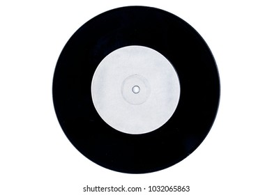 Blank white label vinyl record isolated on white