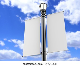 Blank white Lamp Post Banner poster 3d render for mock up and template design