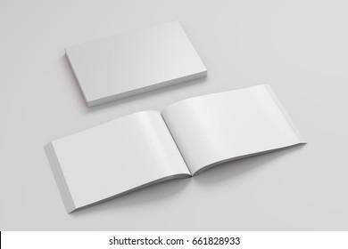 Blank white landscape soft cover book with glossy paper on white background. Open and closed, isolated with clipping path around each book. 3d illustration