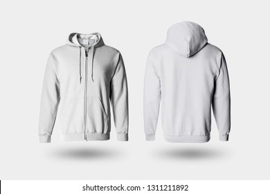 Blank white male Hoodie Sweatshirt long sleeve with clipping path, mens hoody with hood for your design Mock up, isolated on soft gray background.High resolution photo.