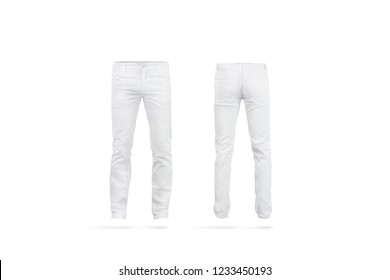 Blank white mens pants mock up, isolated, front and back side view. Empty classic male trousers mockup. Clear denim clothing for work template. Casual jeans for office uniform.