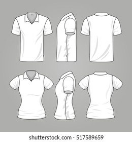 Blank white mens and womens t-shirt outline . Template of t-shirt for woman and man, illustration sport mockup t-shirt