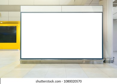 Blank white mock up of horizontal light box billboard at the airport