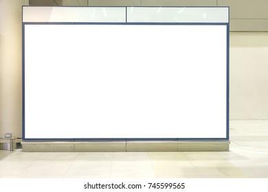 Blank white mock up of horizontal light box billboard at airport