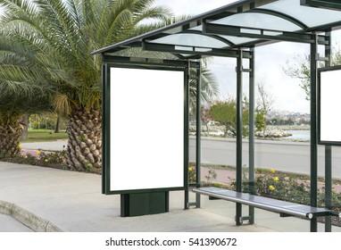 Blank white mockup of bus stop billboard in empty Caddebostan street
