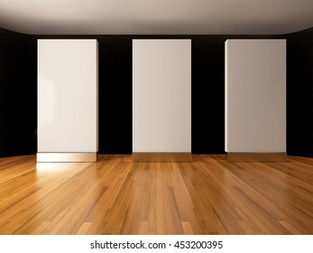 Blank white mockup in empty room with wooden floor, 3D Rendering