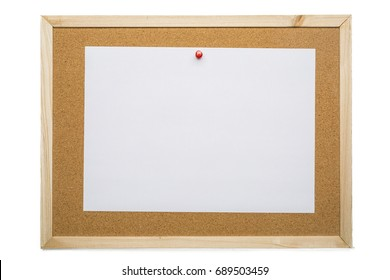 Blank white note paper on cork board, notification concept, blank space