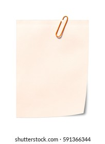 Blank white Notepaper and paperclip with copy space, Isolated on a white background, Ready for your message or adding more text. (Clipping path included for design work)
