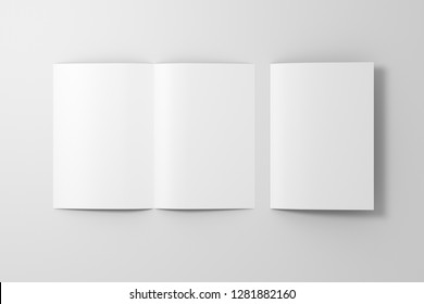 Blank white open and folded half-folded flyer leaflet on white background. With clipping path around brochure. 3d illustration
