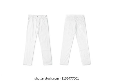 Blank white pants lying mock up, front and back side, isolated. CLear trousers mockup, top view. Empty breeches with a button template. Cloth jeans design presentation