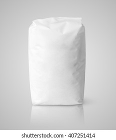 Blank white paper bag package of salt on gray with clipping path