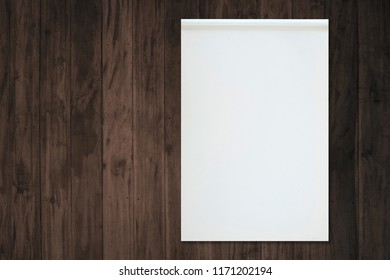 Blank white paper notebook on old grudge wooden table.
