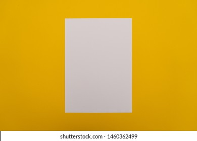 Blank white paper sheet on orange background. Layout for business, posters and banners.