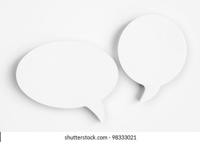 Blank white paper speech bubbles of cartoon and comics over white background