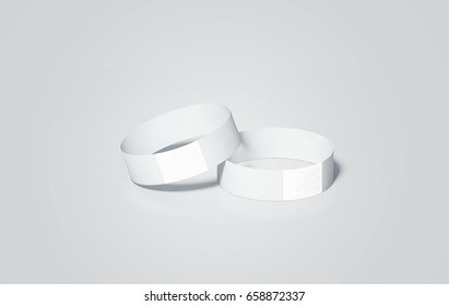 vector template blank white paper wristbands mock ups 3d rendering empty event wrist bands design mockup