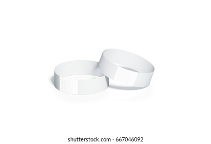 blank white paper wristbands mockups 3d rendering empty event wrist bands design mock up