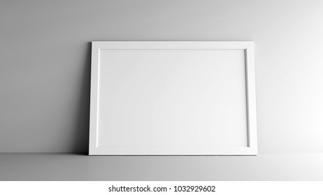 Blank white picture frame on grey background, three-dimensional rendering, 3D illustration