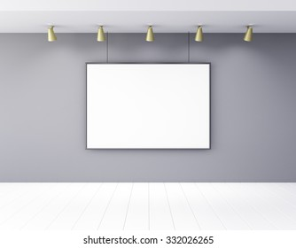 Blank white picture frame on a wall 3D Render