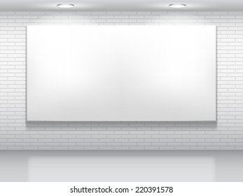 Blank white picture on brick wall.