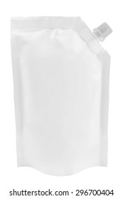 Blank white plastic pouch with batcher or doy pack with cap isolated on white background