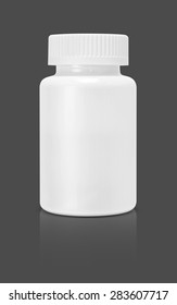 blank white plastic supplement packaging bottle isolated on gray background