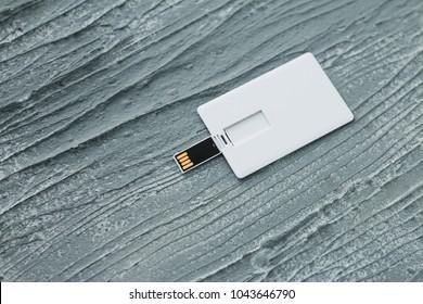 Blank white plastic wafer usb card design mockup.Visiting flash drive namecard mock up. Call-card disk souvenir presentation. Flat wallet credit stick adapter.