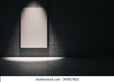 Blank white poster in dark concrete room. Mock up, 3D Render
